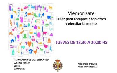 Regresa el taller «MEMORÍZATE» a San Bernardo